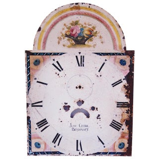 Antique Hand-Painted Floral Clock Face For Sale