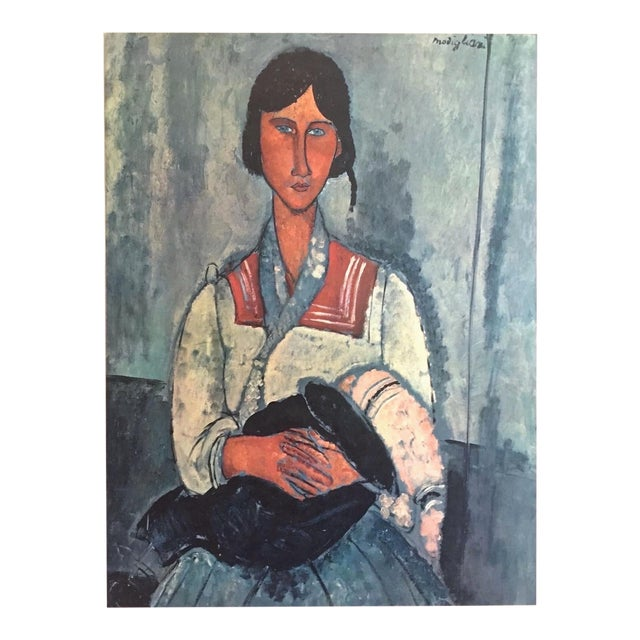 """Amadeo Modigliani Rare Vintage Mid Century Large Lithograph Print """" Gypsy Woman With a Baby """" 1919 For Sale"""