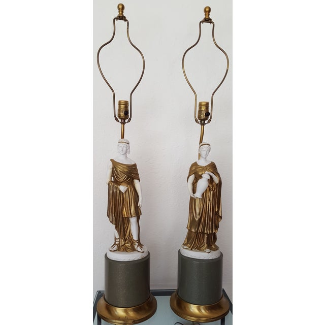 1960 Gilded Bisque Roman Figural Lamps - Pair - Image 2 of 7