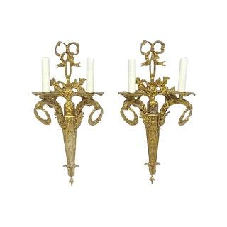 Antique Gilt Bronze Ribbon & Wreath Sconces - a Pair For Sale