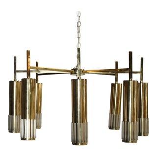 Lightolier Mid-Century Brass Chandelier For Sale