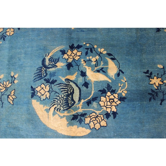 Blue Early 20th Century Antique Chinese Peking Rug - 9′10″ × 11′8″ For Sale - Image 8 of 9