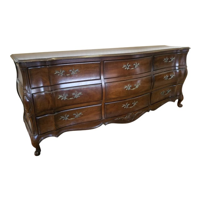 French Provincial Fruitwood 9 Drawer Bedroom Dresser By