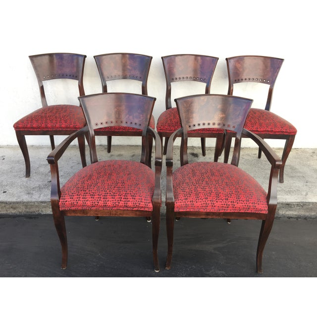 Italian Red Upholstered Wood Dining Chairs- Set of 6 - Image 2 of 10