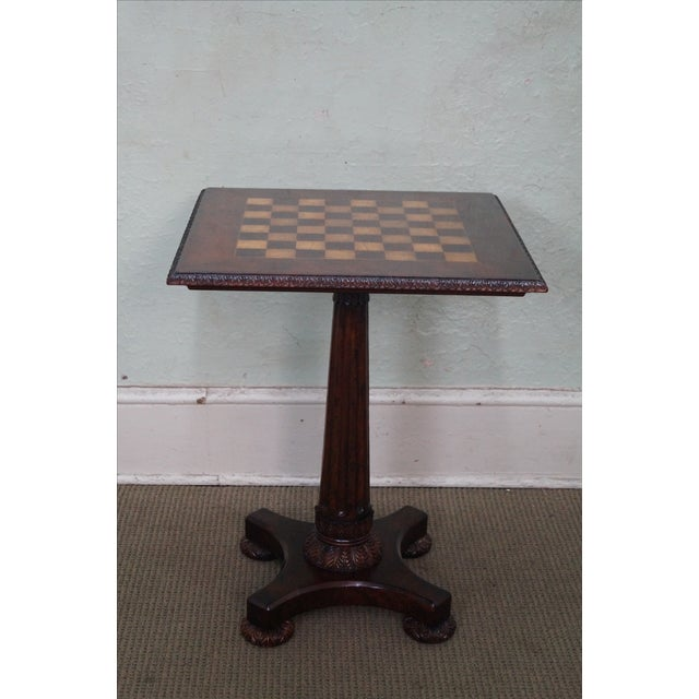 Jonathan Charles mahogany checker board top, square side table. High quality, mahogany inlaid table with carved base &...