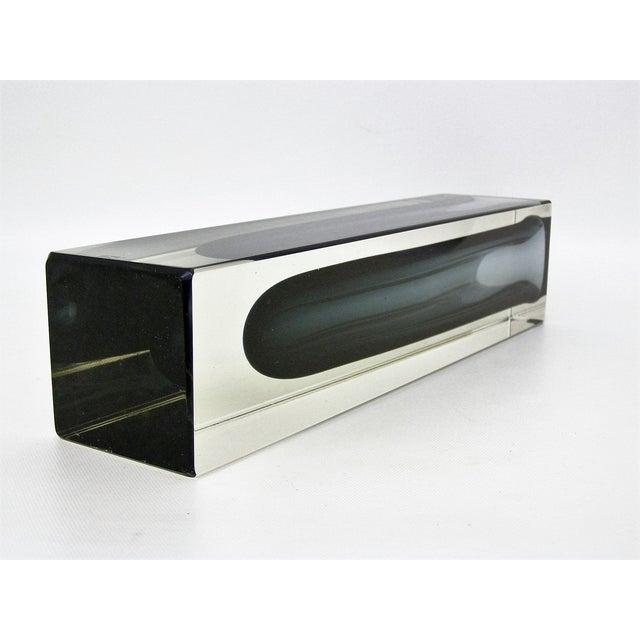Italian Mandruzzato Murano Mid-Century Modern Gray Glass Vase MCM - Image 10 of 11