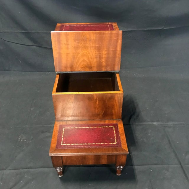 British Mahogany Library Steps With Burgundy Tooled Leather Treads For Sale - Image 10 of 12