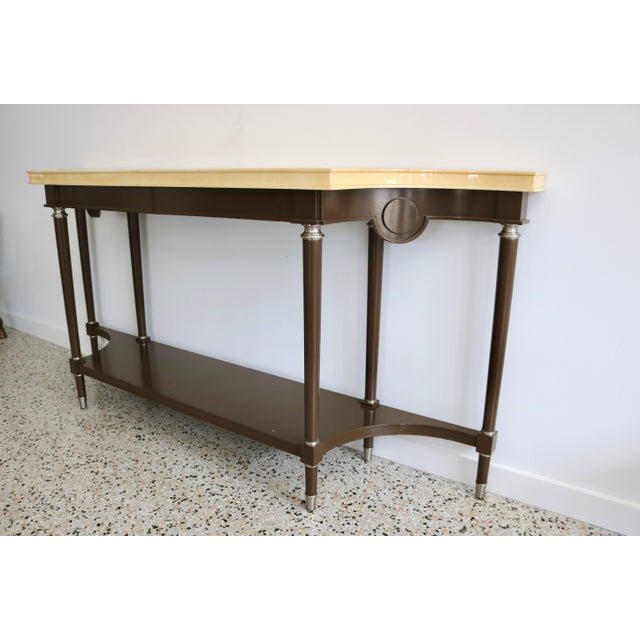 Art Deco Art Deco Revival Goatskin Lacquered Console & Mirror by Lucien Rollin for William Switzer For Sale - Image 3 of 11