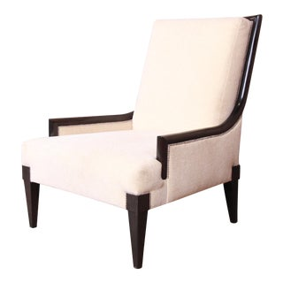 Barbara Barry Style Modern Mahogany and Upholstered Lounge Chair by William Switzer For Sale