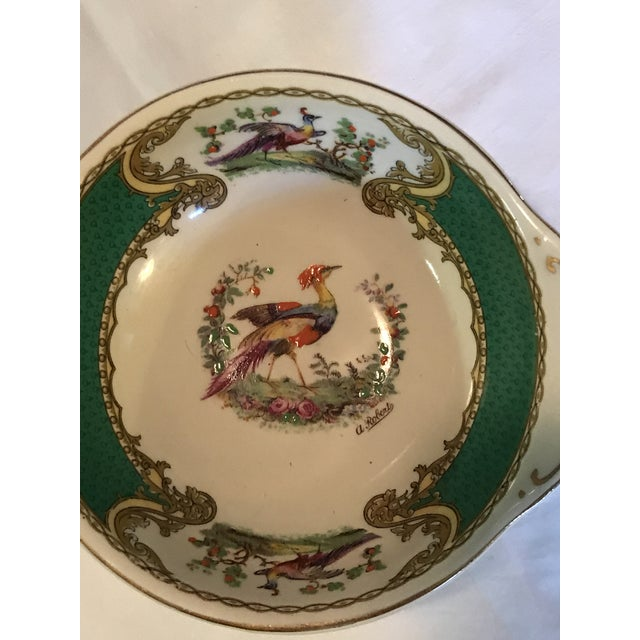 English Traditional 1930s Staffordshire Myott & Son Chelsea Bird Dish in Green For Sale - Image 3 of 6