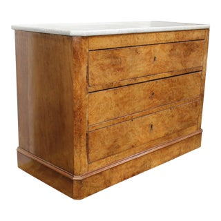 19th Century Antique Biedermeier Marble Topped Chest For Sale