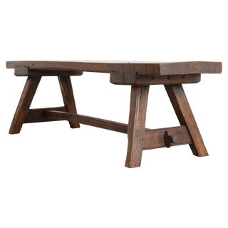 English Early 19th Century Thick Oak Bench For Sale