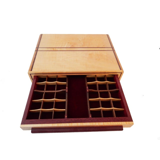 Fabulous hand made by an artist ,piece of furniture jewelry box organizer made of sturdy wood with no screws ...composed...
