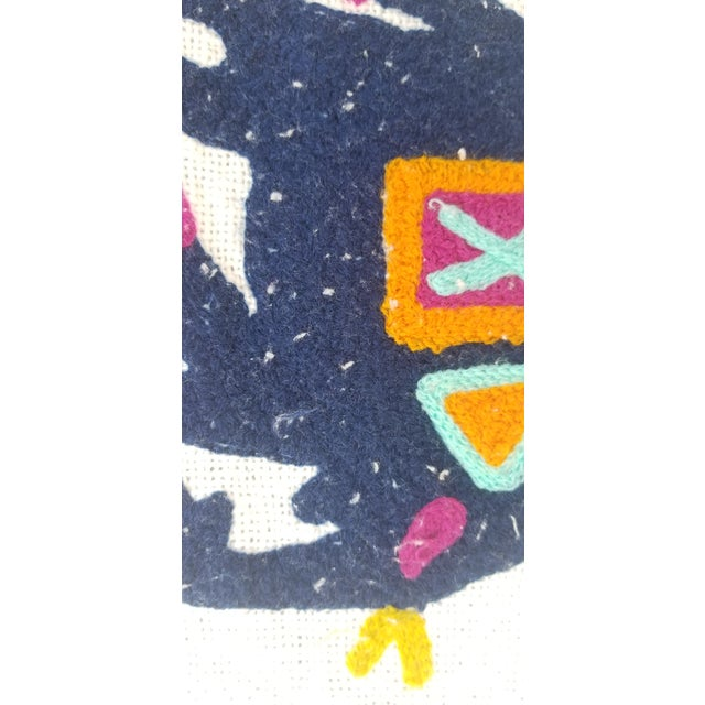 2010s Folk Art Hand Embroidered Children's Bed Cover Throw For Sale - Image 5 of 7