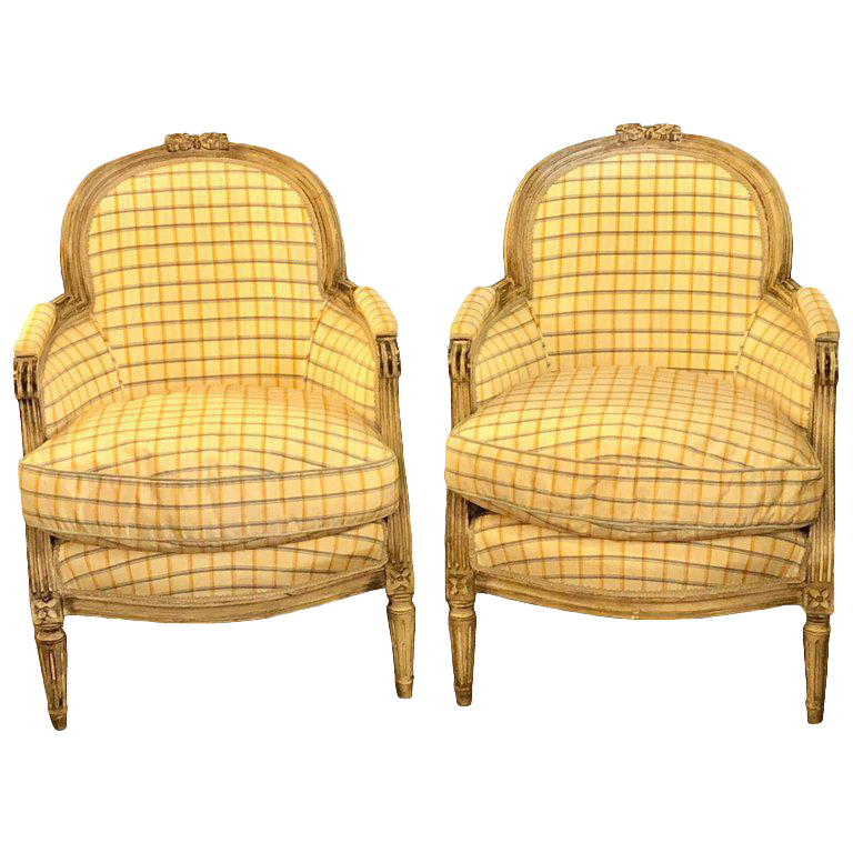 Maison Jansen Louis XVI Style Bergere Chairs In Burberry Fashion Fabric   A  Pair