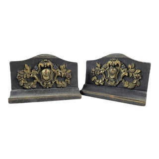 Antique Carved Wood Bookends - a Pair For Sale