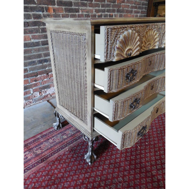 Block Front Chippendale Style Claw Footed Paint Distressed Shabby Chic Chest - Image 6 of 8