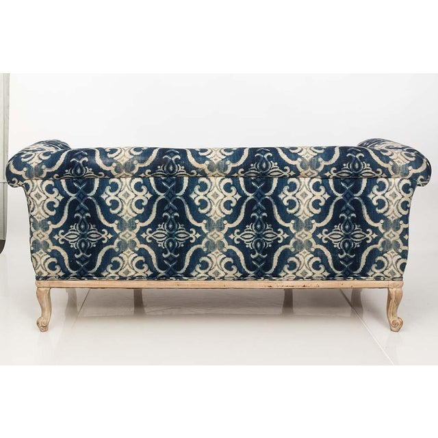 Antique French Chesterfield Sofa in Indigo Ikat Print Linen For Sale - Image 11 of 13