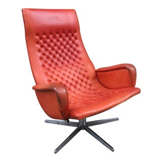 De Sede Ox Blood Red Leather Lounge Chair For Sale