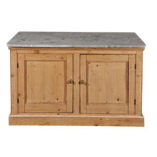 English Pine Cabinet With Marble Top For Sale