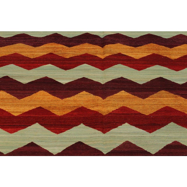 Abstract Kilim Margaret Hand-Woven Wool Rug - 6′4″ × 9′ For Sale - Image 4 of 8