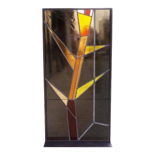 Geometric Stained Glass Panels by Architect Victor Hornbein For Sale