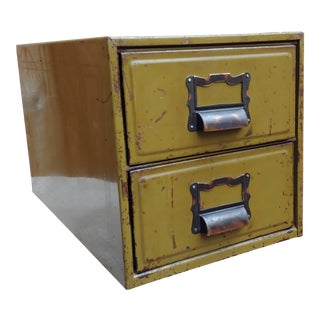 1940s Industrial Small 2-Drawer Steel Cabinet For Sale