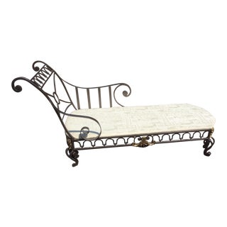 French Recamier Campaign Style Chaise For Sale