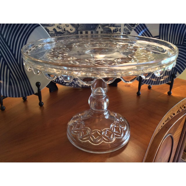 Beautiful Early American Pressed Glass Pedestal Cake Stand. Tall and delicate, with a simple diamond in circle pattern...