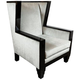 Art Deco Revival Black Lacquer & Platinum Velvet High Back Chair by Noel Jeffrey For Sale