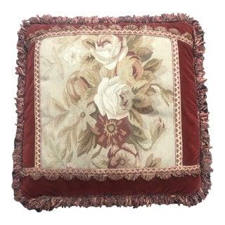 French Aubusson Floral Square Velvet Fringed Pillow For Sale