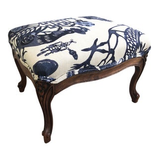 Vintage Footstool With Kelly O'Neal Fabric