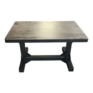Contemporary Custom Rectangular Metal Top Coffee Table in Hand Forged Metal Base