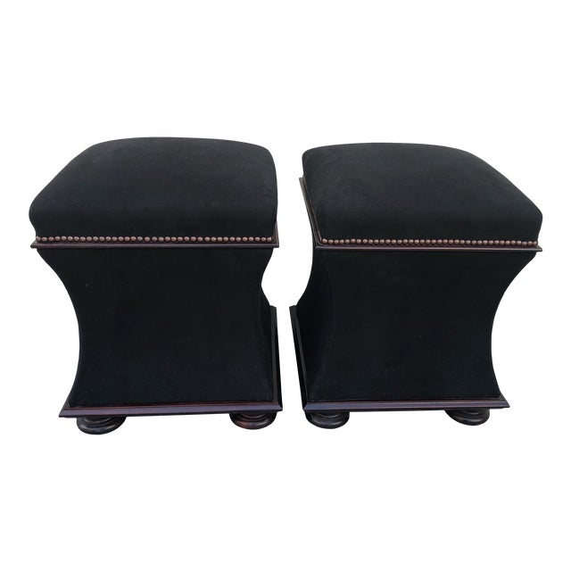 Black Mohair & Mahogany Hourglass Ottomans by George Smith -A Pair For Sale