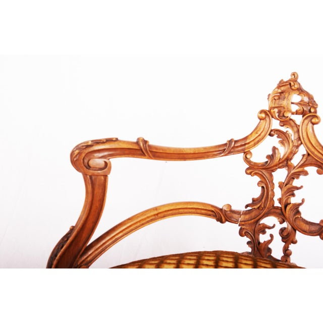 Carved Louis XV walnut corner chair, France, 1870 For Sale - Image 6 of 11