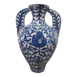 Antique Spanish Ceramic Fajalauza Amphora From Granada For Sale