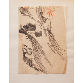 19th Century Meiji Era Japanese Woodpecker on an Old Maple Tree Watercolor Painting For Sale