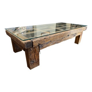 Vintage Rustic Glass Top Wood Coffee Table For Sale