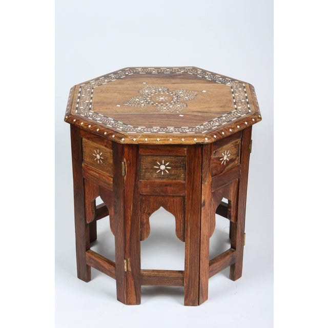 Anglo-Indian Anglo Indian Bone Inlaid Octagonal Side Table For Sale - Image 3 of 8