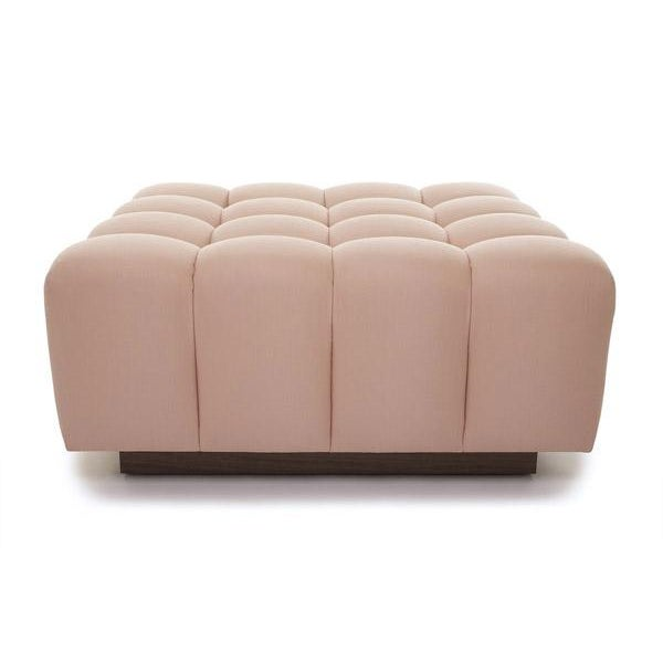 Transitional Deep Button Tufting Walnut Base Channeling Ottoman For Sale - Image 3 of 4