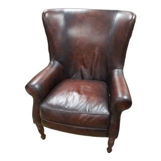 Bernhardt Leather and Hide Wingback Chair For Sale