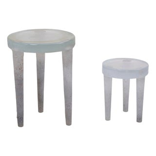 Pair of Prototype Glass Side Tables by Ellen Felixon For Sale