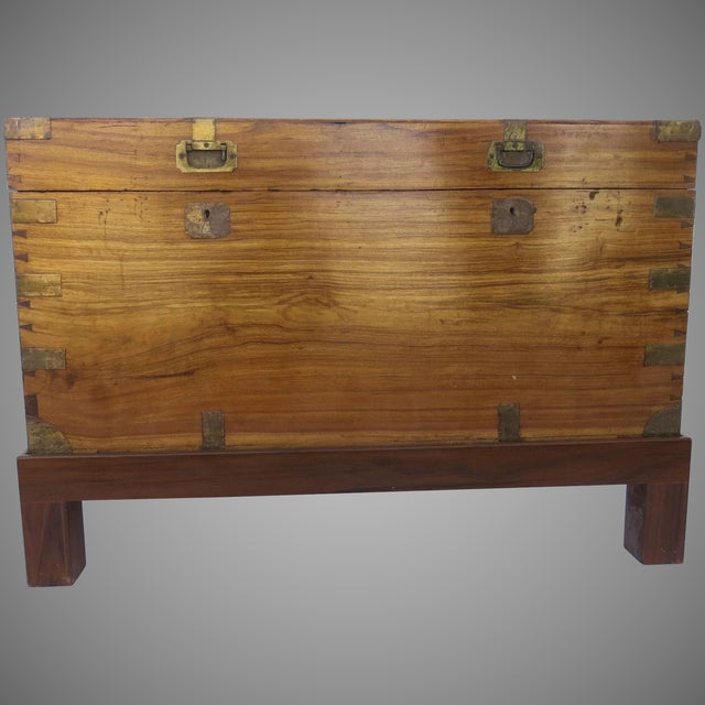 Burnt Umber Early 19th Century Camphor Wood Campaign Chest on Stand For Sale - Image 8 of 9