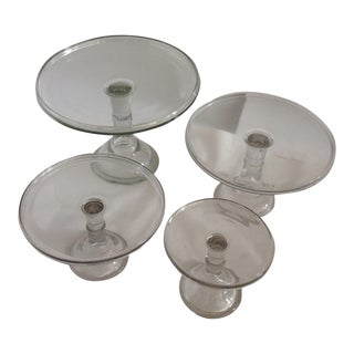 Vintage English Glass Cakestands - Set of 4 For Sale