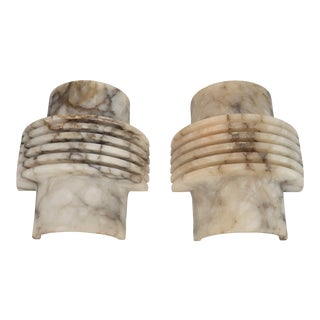 French Art Deco Alabaster Sconces - a Pair For Sale