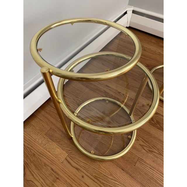 Metal Hollywood Regency Brass and Glass Cocktail Tables - a Pair For Sale - Image 7 of 13