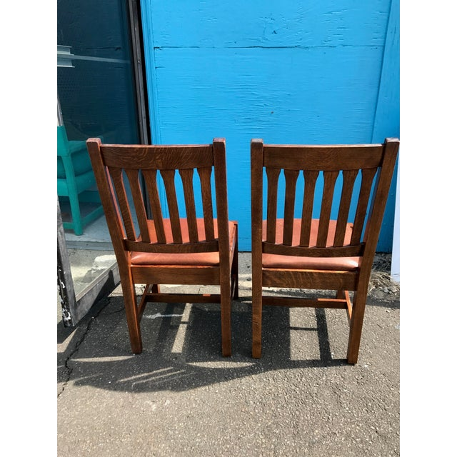 Stickley Mission Cottage Oak & Leather Side Chairs - A Pair - Image 5 of 11