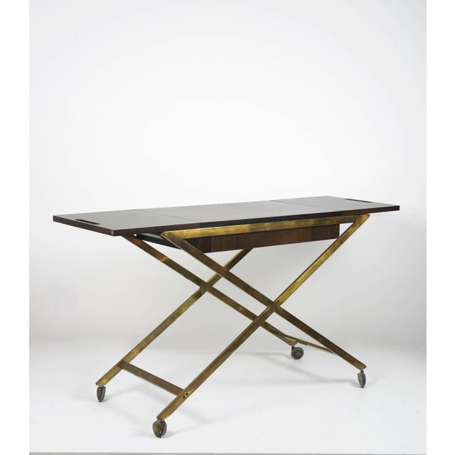 Brass 1960s Vintage Widdicomb Brass X Base Bar or Serving Cart For Sale - Image 7 of 11