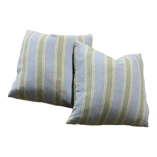 "Transitional Down /Feather Pillows in Ralph Lauren Textile Stripe - 22"" X 22"" For Sale"