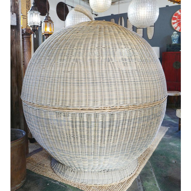 Boho Chic Outdoor Rattan Apple Pod Bed For Sale - Image 3 of 7